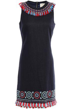 KATE SPADE New York Tassel-trimmed embellished linen-blend mini dress