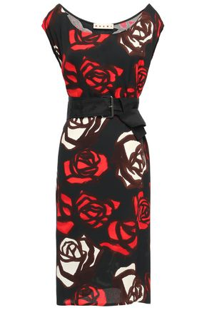 MARNI Belted floral-print crepe dress