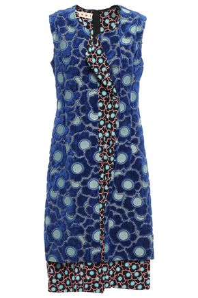 MARNI Chenille-paneled floral-print silk-blend jacquard dress