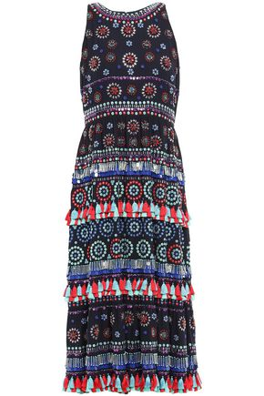 KATE SPADE New York 装飾付き 刺繍入り クレープ ミディワンピース