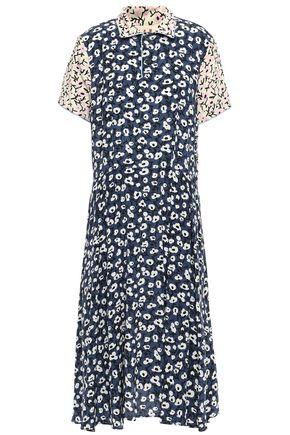 MARNI Pleated floral-print silk crepe de chine midi shirt dress