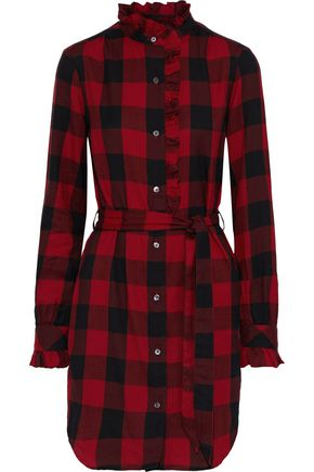 FRAME Ruffle-trimmed checked cotton-flannel mini dress