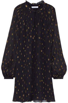 FRAME Gathered metallic fil coupé chiffon mini dress