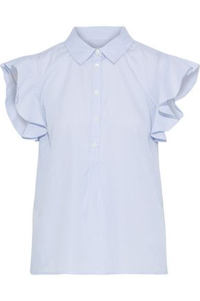 FRAME Ruffled striped cotton-poplin top