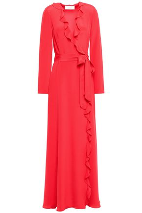 GOAT Ruffle-trimmed silk crepe de chine wrap dress