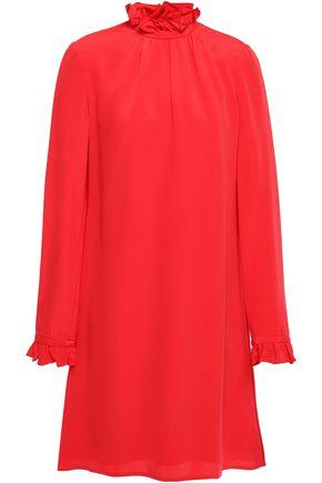 GOAT Hibiscus gathered crepe de chine mini dress