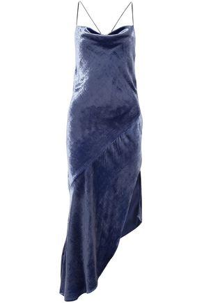 HANEY オープンバック アシンメトリー ベルベット ミディスリップドレス