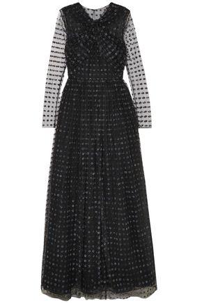 JASON WU Twist-front organza-appliquéd tulle gown