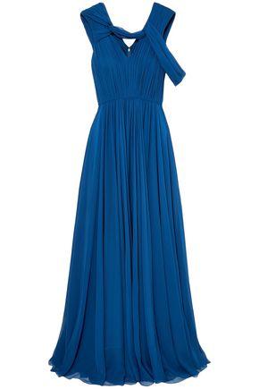 JASON WU Cold-shoulder pleated silk-chiffon gown