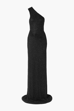 NAEEM KHAN ワンショルダー ドレープ入り 装飾付き チュール ロングドレス
