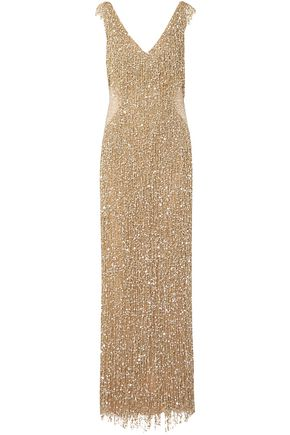 NAEEM KHAN Fringed crystal-embellished sequined tulle gown