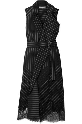 JASON WU Belted Chantilly lace-trimmed pinstriped stretch-wool wrap dress