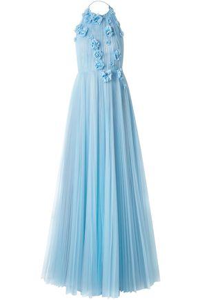 JASON WU Floral-appliquéd embellished pleated tulle halterneck gown