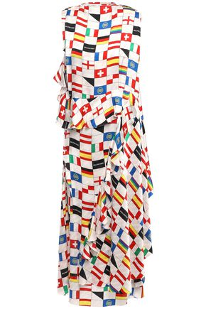 BALENCIAGA Wrap-effect printed silk-jacquard midi dress