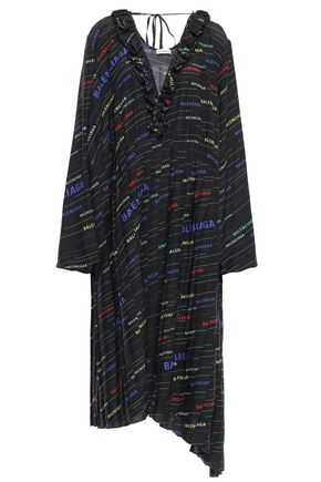 BALENCIAGA Asymmetric ruffle-trimmed printed silk-crepe midi dress