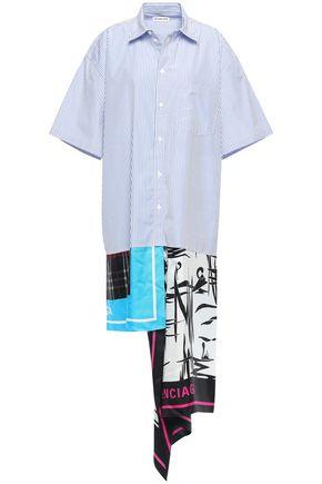 BALENCIAGA Asymmetric striped cotton-poplin and printed satin-twill shirt dress