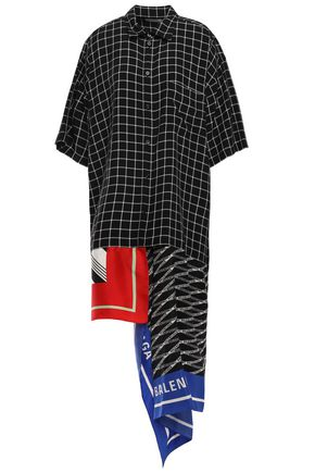 BALENCIAGA Asymmetric satin twill-paneled checked crepe midi shirt dress