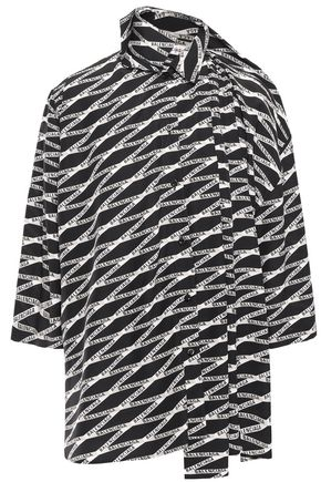 BALENCIAGA Tie-neck printed silk crepe de chine top