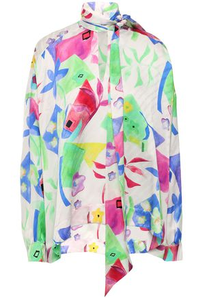 BALENCIAGA Tie-neck printed silk-jacquard blouse