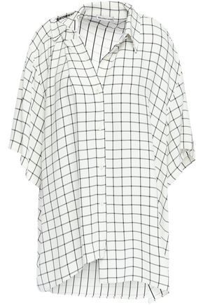 BALENCIAGA Asymmetric checked crepe shirt