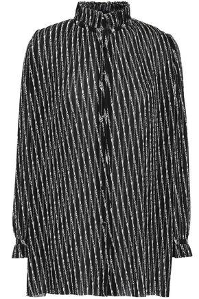 BALENCIAGA Printed plissé-crepe blouse