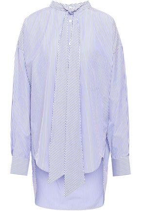 BALENCIAGA Tie-neck striped cotton-poplin shirt