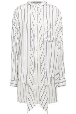 BALENCIAGA Tie-neck printed pinstriped silk crepe de chine shirt