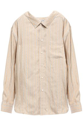 BALENCIAGA Oversized striped silk-twill shirt