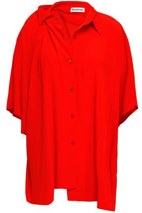 BALENCIAGA Asymmetric crepe de chine shirt