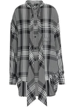 BALENCIAGA Tie-neck checked crepe shirt