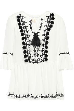 KATE SPADE New York Pompom-embellished embroidered crepe de chine blouse