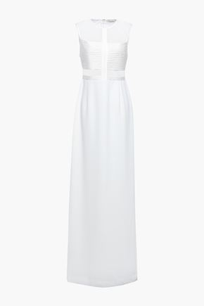 HALSTON Paneled mesh and satin-crepe gown