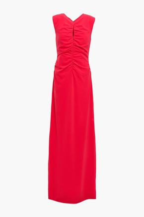 HALSTON Ruched stretch-crepe gown