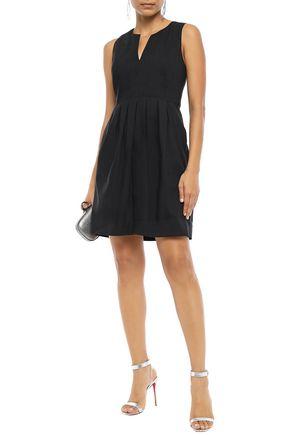 Halston Heritage Woman Pleated Linen-Blend Mini Dress Black