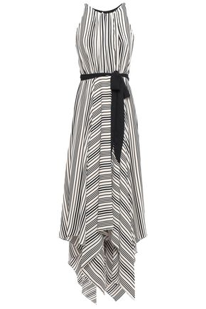 HALSTON HERITAGE Asymmetric cutout striped crepe maxi dress