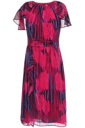 HALSTON HERITAGE Cape-effect printed chiffon dress