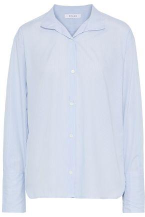 FRAME Striped cotton-poplin shirt