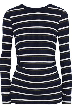 FRAME Ruched striped ribbed-knit top