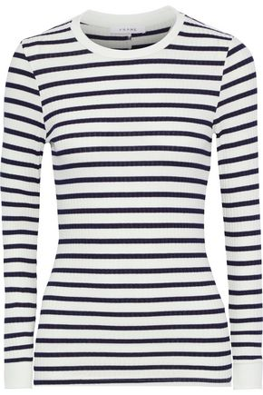 FRAME 70s striped ribbed jersey top