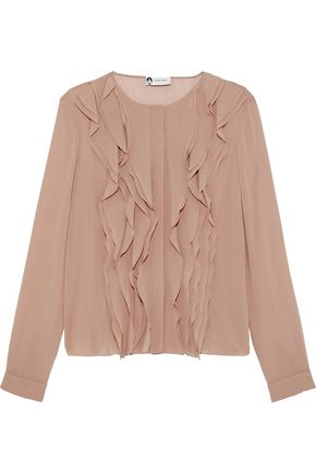 LANVIN Ruffled-trimmed silk-blend chiffon blouse