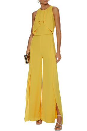 Halston Heritage Sleeveless High-Neck Flowy Drape Front Wide-Leg Jumpsuit In Marigold
