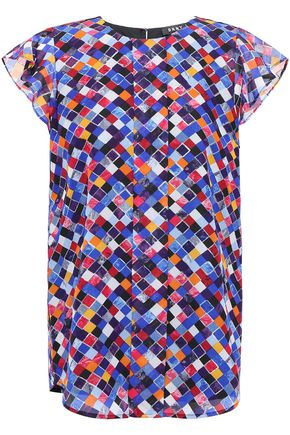DKNY City Lights ruffle-trimmed printed voile blouse