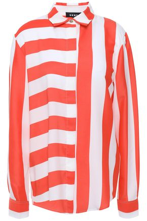 DKNY Fresh Perspective striped crepe de chine shirt