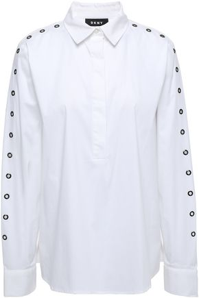 DKNY City Lights eyelet-embellished cotton-blend cotton shirt
