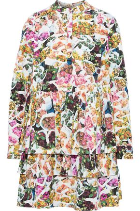 ADAM LIPPES Tiered floral-print cotton and silk-blend faille mini dress