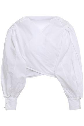 MERLETTE توب ملتف قصير من قماش البوبلين القطني مطرز