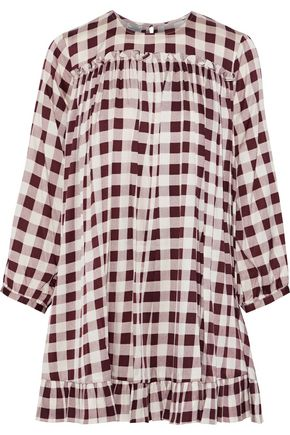 BAUM UND PFERDGARTEN Adare ruffle-trimmed gingham silk-blend mini dress