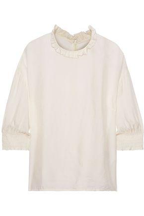 BAUM UND PFERDGARTEN Mere ruffle-trimmed gingham jacquard blouse