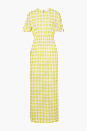BAUM UND PFERDGARTEN Aberdeen shirred checked seersucker maxi dress