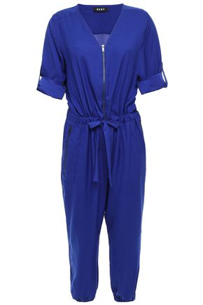 DKNY Cropped gathered cady jumpsuit